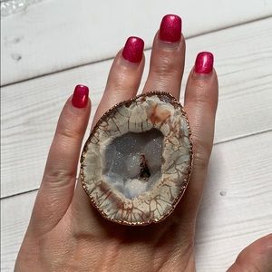 Chunky rose gold adjustable druzy ring
